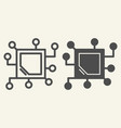 memory chip line and glyph icon cpu vector image