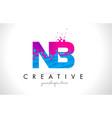 nb n b letter logo with shattered broken blue vector image vector image