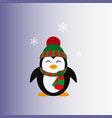 penguin in a knitted cap icon flat vector image