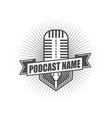 podcast badge logo design template vector image vector image