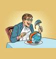 politician eats the planet vector image vector image