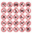prohibitions signs red prohibited icons set vector image vector image