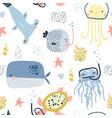 seamless pattern with cute undersea inhabitants vector image