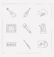 set of music icons line style symbols with cello vector image