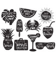 set summer emblems with hand lettered quotes vector image