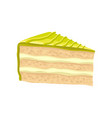 slice of layered cake with green butter cream vector image