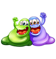 Two happy monsters vector image vector image