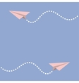 Two origami paper plane Dash line in the sky vector image vector image