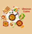 ukrainian cuisine lunch dishes icon design vector image vector image