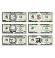 usa banking currency cash symbol 50 dollars bill vector image vector image