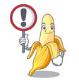 with sign ripe banana isolated on character vector image