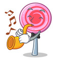with trumpet cute lollipop character cartoon vector image vector image