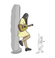 woman playing acoustic guitar at the pole vector image vector image