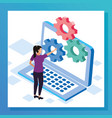 woman with laptop computer and big gears vector image vector image