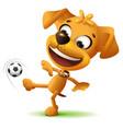 yellow funny dog football player kicks soccer ball vector image