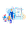 young people gain knowledge from business trainer vector image vector image