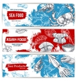 Seafood and japanese cuisine restaurant banner set vector image