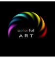 Colorful rainbow abstract logo on black background vector image