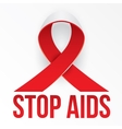 The photorealistic red ribbon is the global symbol vector image
