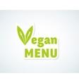 Vegan Menu Sticker Sign or Emblem Fork vector image