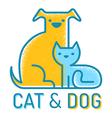 cat dog flat retro vector image