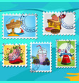a set of for design summer bar postage stamps vector image vector image