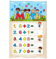 addition worksheet template for young children vector image