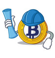 architect bitcoin gold character cartoon vector image