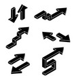 arrows black isometric icons vector image vector image