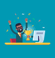 black businessman got a gold award from monitor vector image vector image