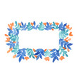blue leaf and peach pink flower rectangle wreath vector image vector image