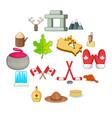 canada icons set cartoon style vector image