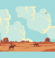 cartoon western landscape with cowboys and indian vector image