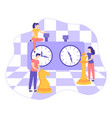 chessboard chess clock tactic game flat vector image vector image