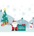 christmas winter scene santa claus and presents vector image vector image