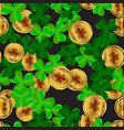 clover leaves with golden coin seamless pattern vector image