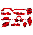 collection curved ribbons set red web banner vector image
