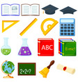 colorful cartoon school set 16 elements vector image