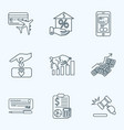 commerce icons line style set with auction bull vector image