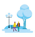 couple holding hands in the park winter scenery vector image