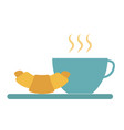 cup hot tea coffee and croissant simple food vector image vector image