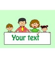 Cute Family Holding Banners vector image vector image
