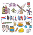 doodle hand sketch collection of holland icons vector image vector image