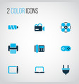 electronics icons colored set with cable joystick vector image vector image