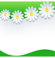 Floral frame with 3d flower chamomile vector image vector image