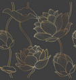 gold line seamless luxury lotus wallpaper vector image