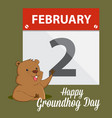groundhog waving infront of a calendar vector image