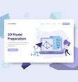 landing page template 3d printing model vector image vector image