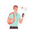 like dislike concept man holding smartphone and vector image