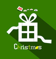Merry Christmas Title with Paper Gift Box on Green vector image vector image